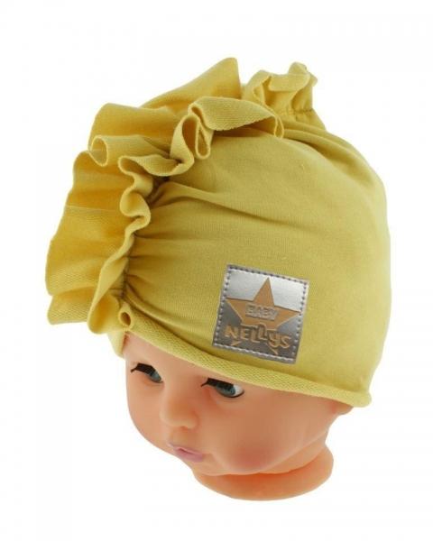 Baby Nellys Jarná/jesenná bavlnená čiapka - turban, horčicová