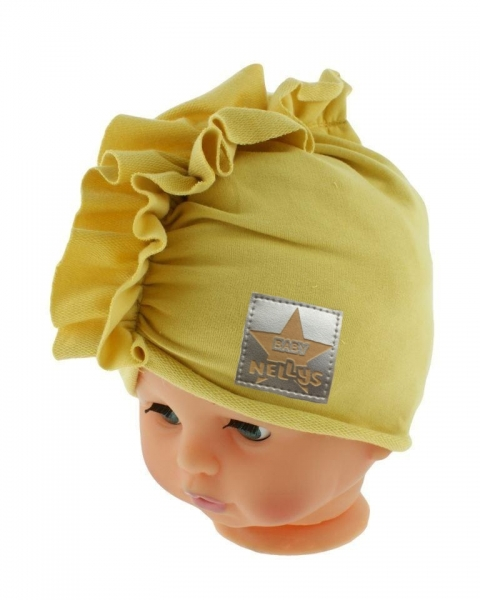 Baby Nellys Jarná/jesenná bavlnená čiapka - turban, horčicová, obvod: 44-48 cm