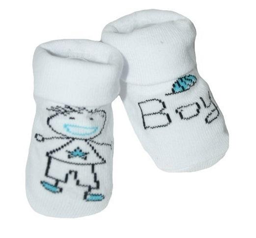 Dojčenské ponožky 12 - 24 m,RISOCKS protišmykové - Baby Boy, biela/modrá