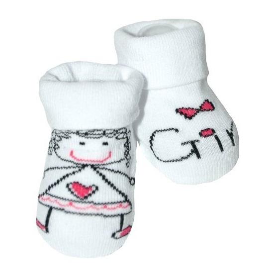 Dojčenské ponožky 12 - 24 m,RISOCKS protišmykové - Baby Girl, biela/růžová