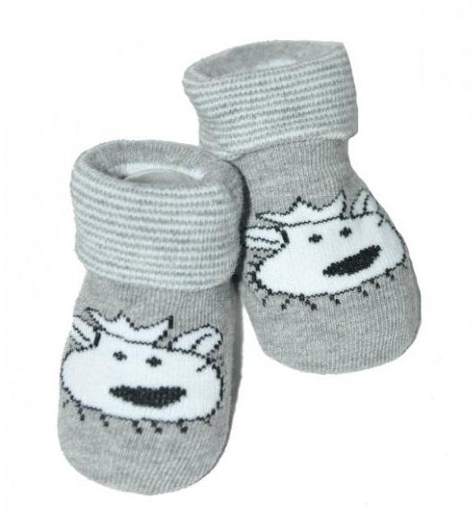 Dojčenské ponožky 0-12 m, Risocks - Lvíček, sivá-0-1rok