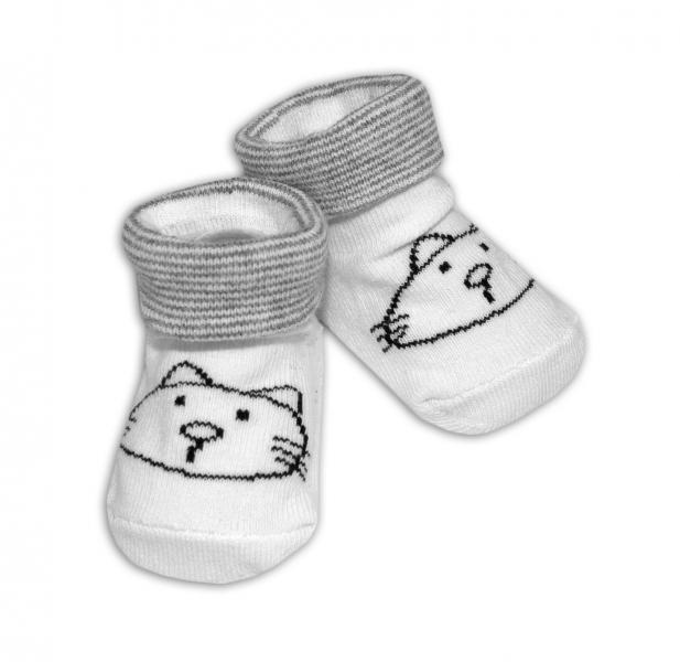 Dojčenské ponožky 0-12 m, Risocks - Mačička, bielo/sivá