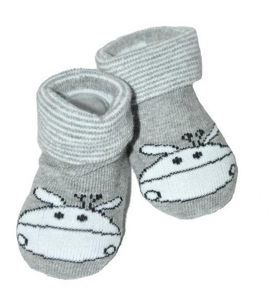 Dojčenské ponožky 0-12 m, Risocks - Žirafka, sivá-0-1rok