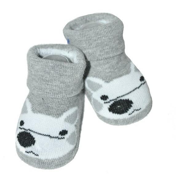 Dojčenské ponožky 0-12 m, Risocks - Líška, sivá-0-1rok