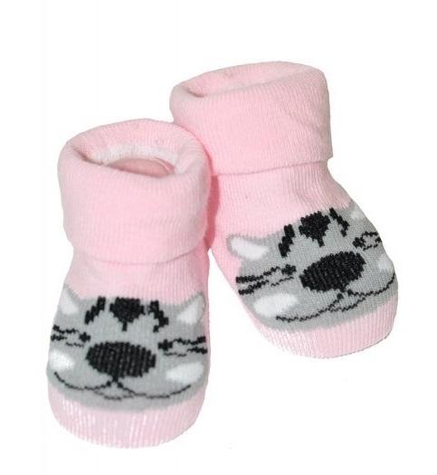 Dojčenské ponožky 0-12 m, Risocks - Tigrík, růžové-0-1rok