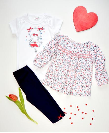 K-Baby 3 dielna sada - body krátký rukáv, tričko, legíny - Dievčatko, veľ. 86