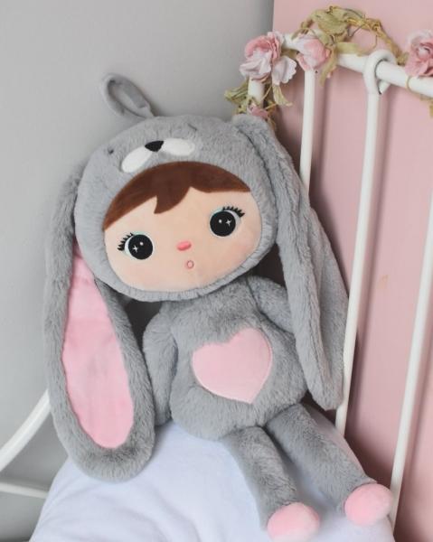 Handrová bábika Metoo Králíček - sivá /ružový