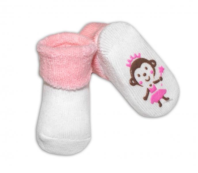 Dojčenské ponožky  0-6 m,RISOCKS rôzne motívy - sv. ružová