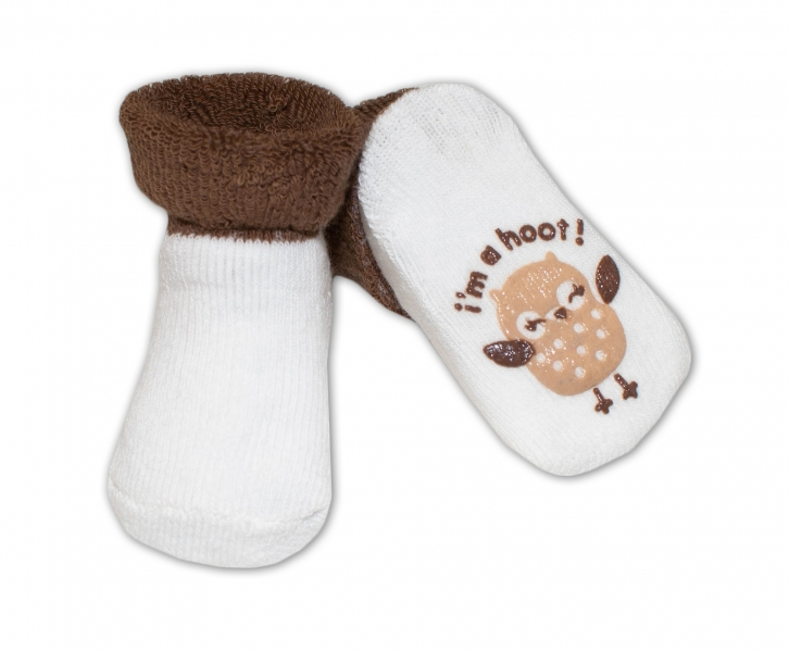 Dojčenské ponožky  0-6 m,RISOCKS rôzne motívy - tm. hnědá