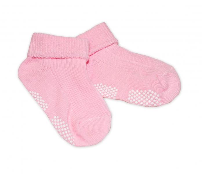 Dojčenské ponožky 0-12 m,RISOCKS protišmykové - sv. růžové-0-1rok