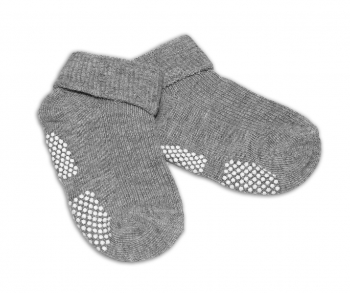 Dojčenské ponožky 0-12 m,RISOCKS protišmykové - sivé-0-1rok