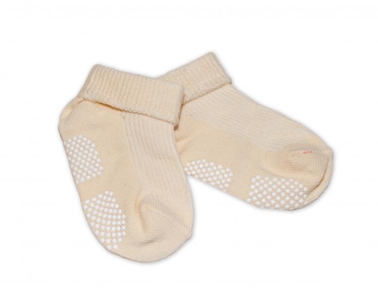 Dojčenské ponožky 0-12 m,RISOCKS protišmykové - béžové-0-1rok