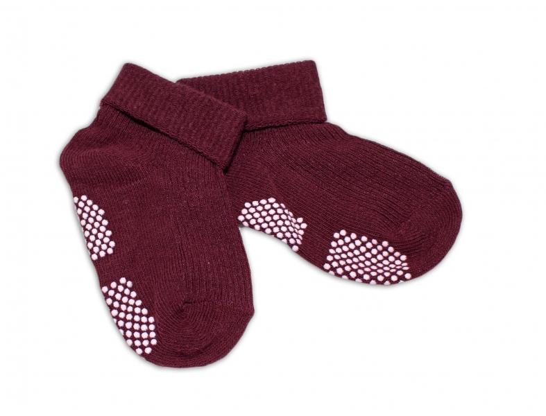 Dojčenské ponožky 0-12 m,RISOCKS protišmykové - bordo-0-1rok
