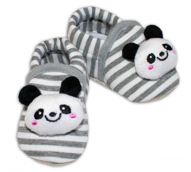 Topánočky/capáčky RISOCKS Panda - prúžok sivý