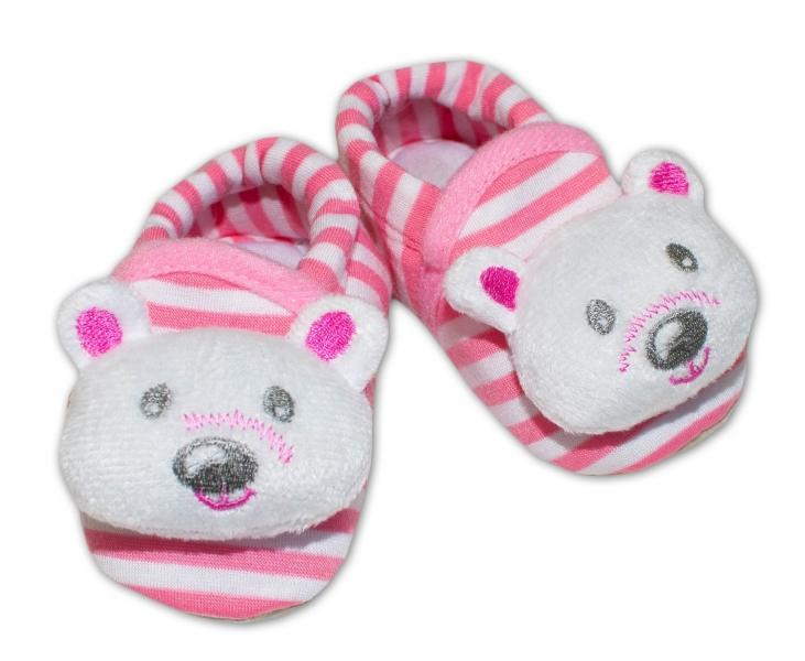 Topánočky/capáčky RISOCKS Panda - prúžok růžový