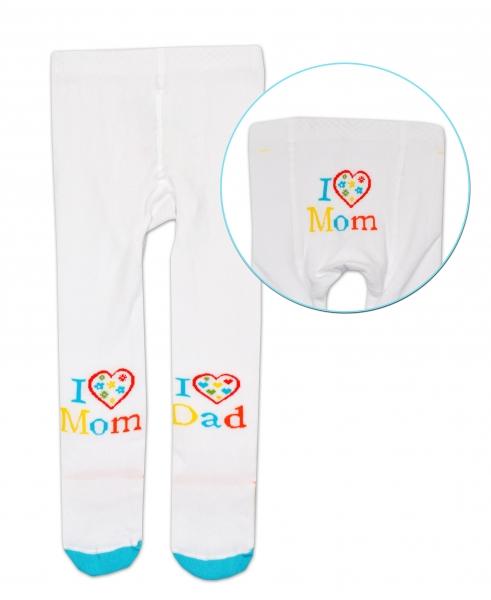Bavlnené pančucháče Baby Nellys ® -  I love Mom, I love Dad - biele, veľ. 92/98
