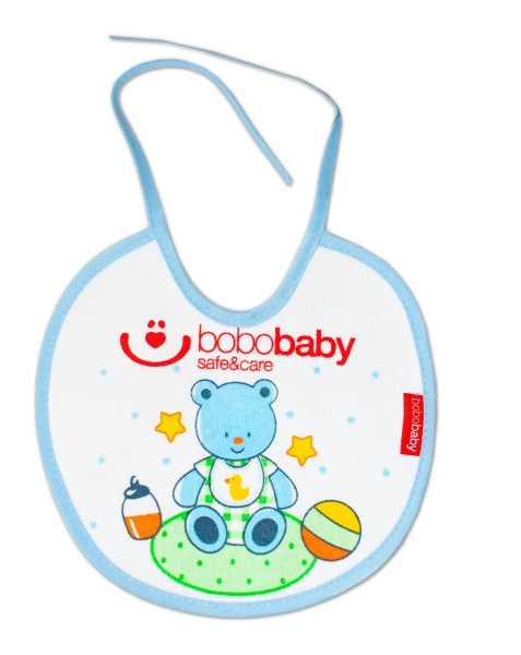 Nepremokavý froté podbradník BOBO BABY - medvedík, modrý lem