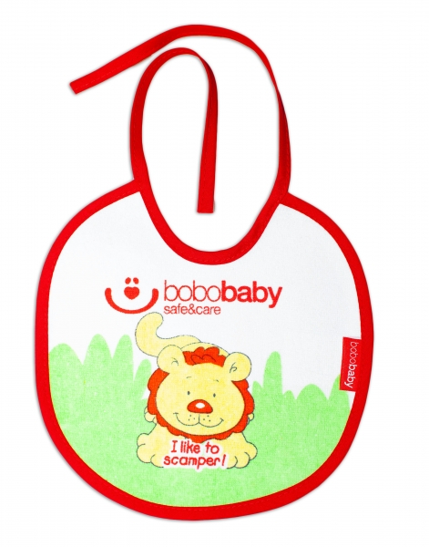 Nepremokavý froté podbradník BOBO BABY - Lvík, červený lem