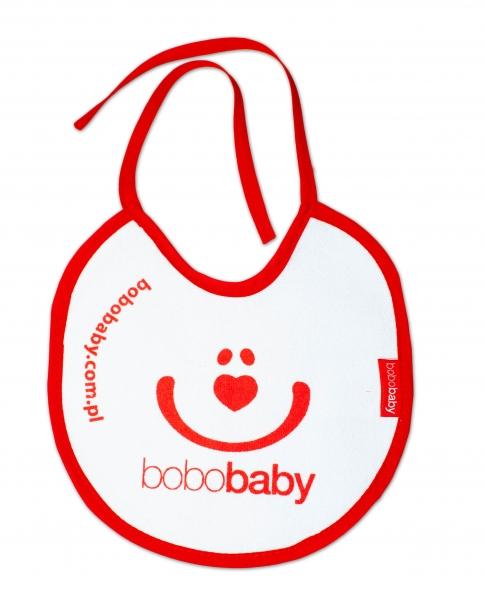 Nepremokavý froté podbradník BOBO BABY - Smajlík, biely/červený lem