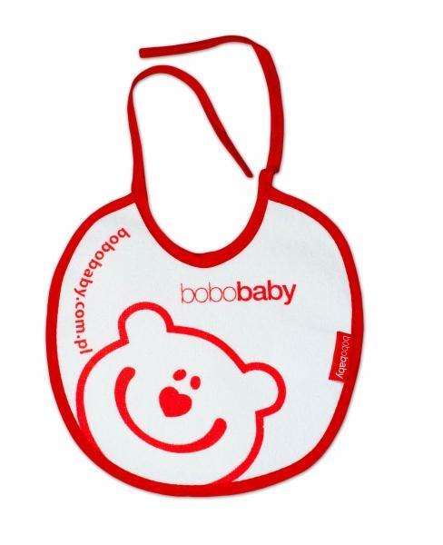 Nepremokavý froté podbradník BOBO BABY - Méďa, biely/červený lem
