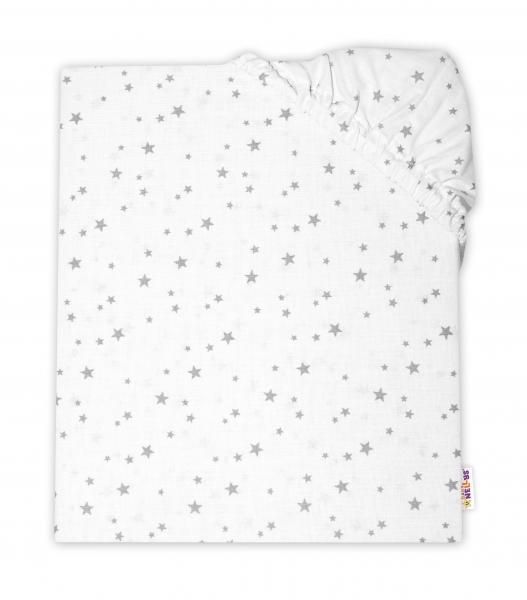 Baby Nellys Detské bavlnené prestieradlo do postieľky - Mini hviezdičky sivé, 140x70 cm