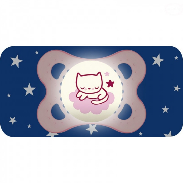 Symetrický cumlík Mam Night Girl, svietiaci - Mačička, ružová