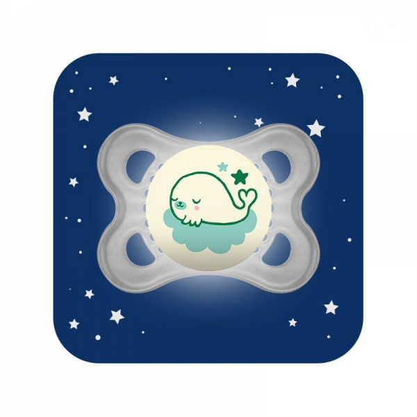 Symetrický cumlík Mam Night, svietiaci - Veľryba, šedý
