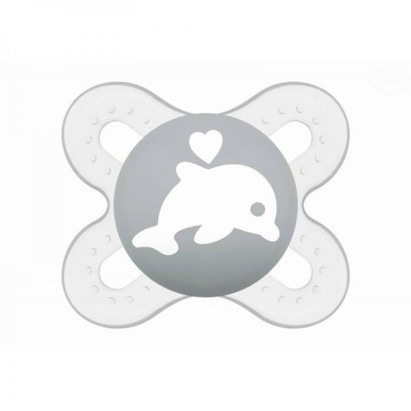 Symetrický dudlík Mam Start - Delfín, sivý