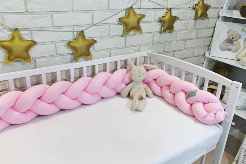 Mantinel Baby Nellys pletený vrkoč - sv. růžová
