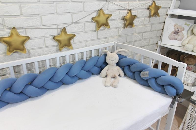 Mantinel Baby Nellys pletený vrkoč - tm. modrá