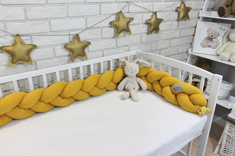 Mantinel Baby Nellys pletený vrkoč - horčicová