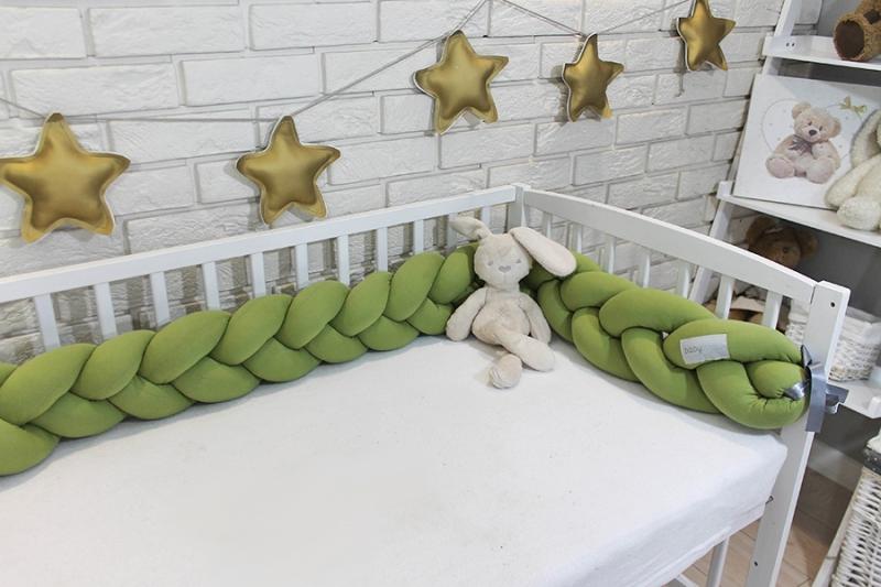 Mantinel Baby Nellys pletený vrkoč - oliva