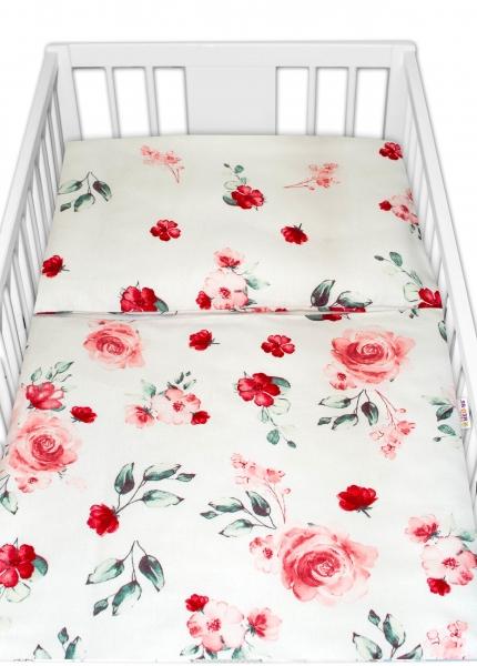 Baby Nellys Flanelové obliečky Evelina - Kvetinky ružové, 135x100