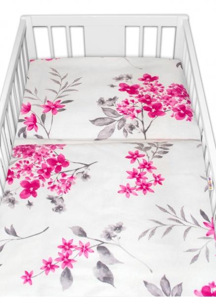 Baby Nellys Flanelové obliečky Laura - Kvety, 135x100