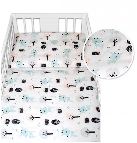Baby Nellys 2 - dielne bavlnené obliečky - Srnečci, biele, 135x100
