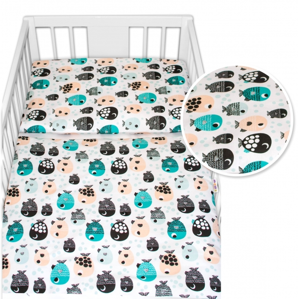 Baby Nellys 2 - dielne bavlnené obliečky - Rybičky, biele, 120x90 cm