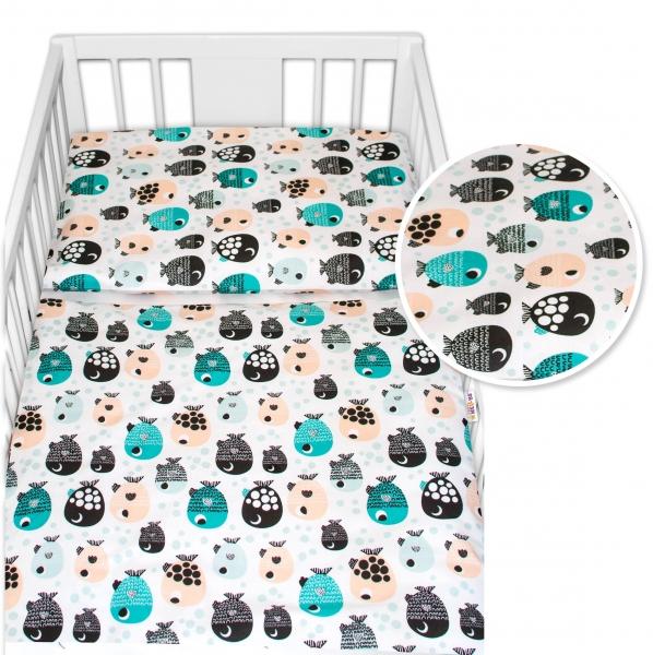 Baby Nellys 2 - dielne bavlnené obliečky - Rybičky, biele, 135x100 cm
