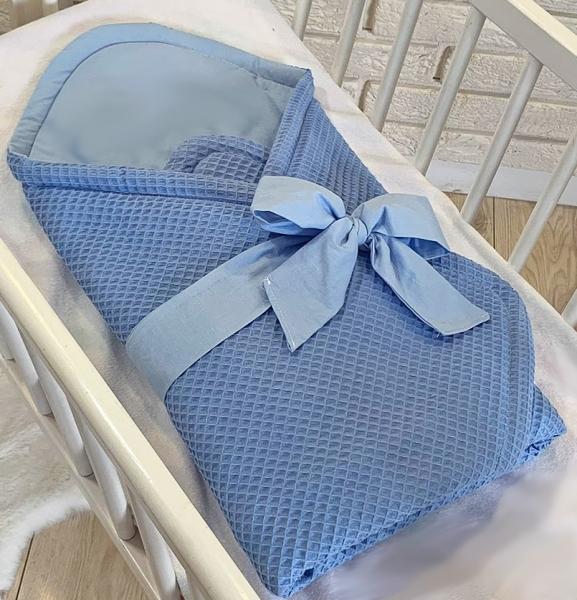 Baby Nellys Luxusné zavinovačka vaflová s mašľou 75 x 75cm - modrá