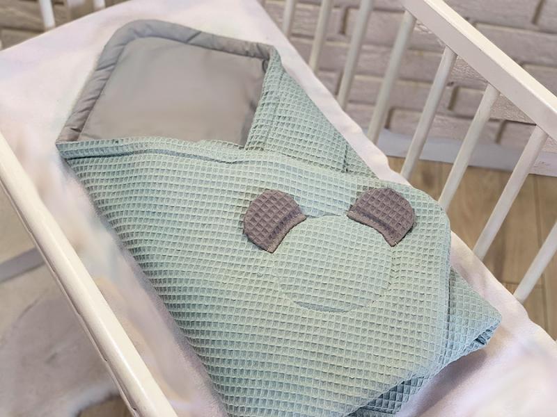Baby Nellys Luxusné zavinovačka vaflová MACKO, 75 x 75cm - mätová