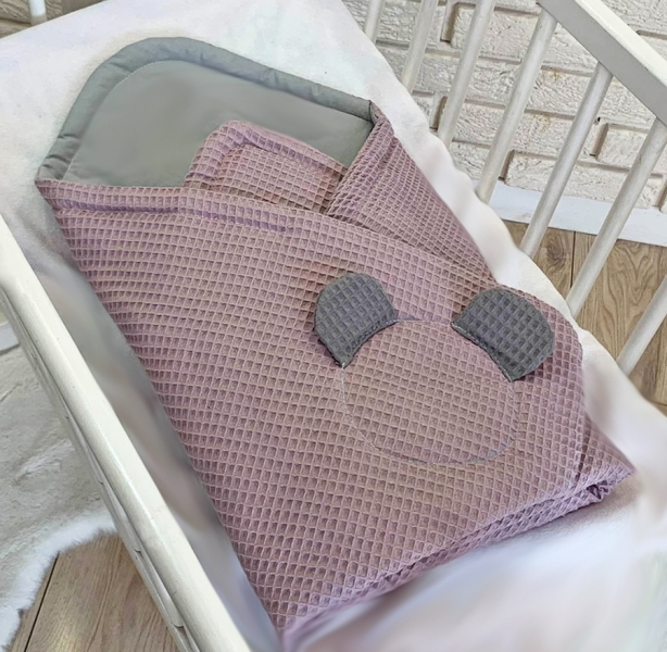 Baby Nellys Luxusné zavinovačka vaflová MACKO, 75 x 75cm - ružová