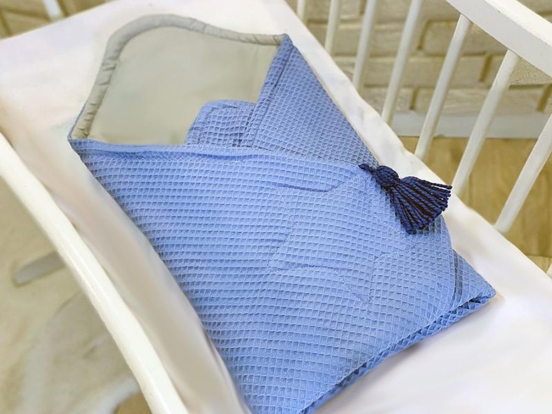 Baby Nellys Luxusné zavinovačka vaflová STAR, 75 x 75cm - modrá