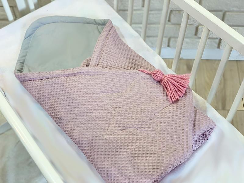 Baby Nellys Luxusné zavinovačka vaflová STAR, 75 x 75cm - ružová