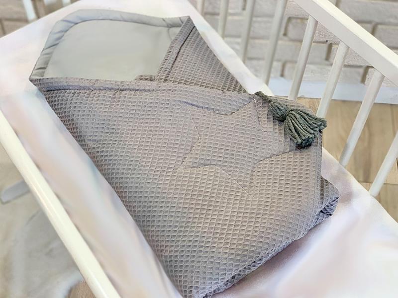 Baby Nellys Luxusná zavinovačka vaflová STAR, 75 x 75cm - šedá