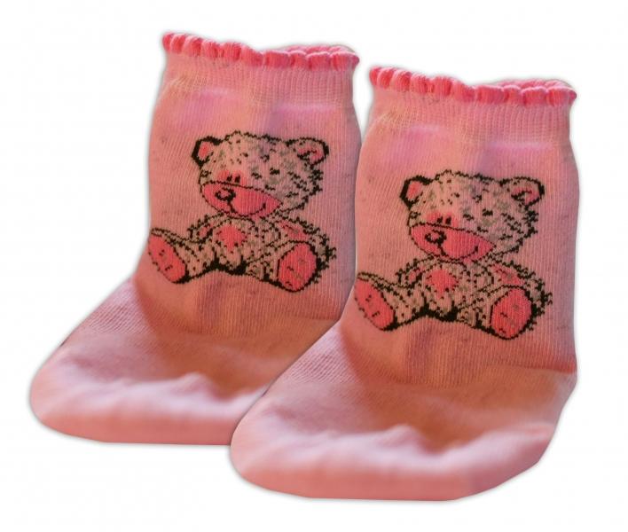 Baby Nellys Bavlnené ponožky Teddy - svetle růžové, veľ. 17-18cm