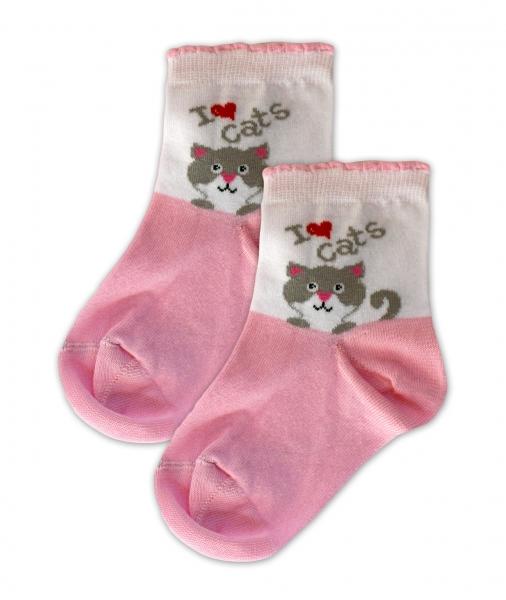 Baby Nellys Bavlnené ponožky I love cats - růžovo/biela, veľ. 17-18cm