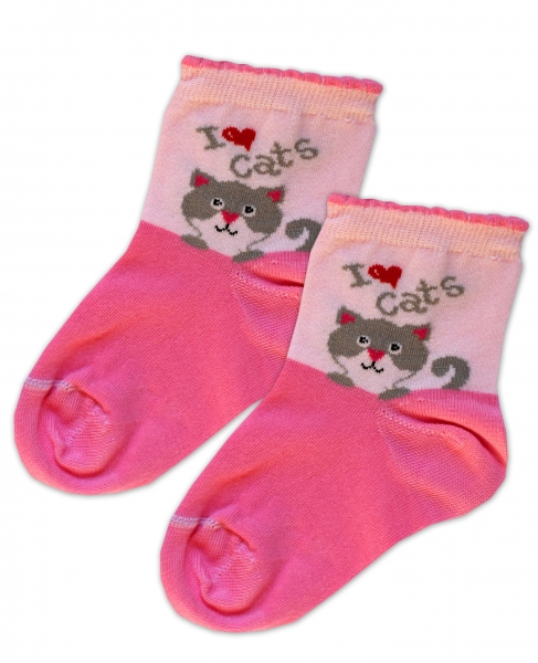 Baby Nellys Bavlnené ponožky I love cats - růžovo/sv. růžová, veľ. 15-16cm