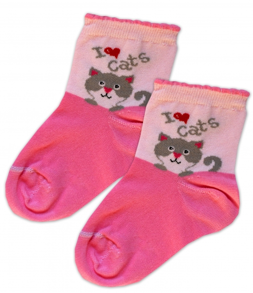 Baby Nellys Bavlnené ponožky I love cats - růžovo/sv. růžová, veľ. 17-18cm