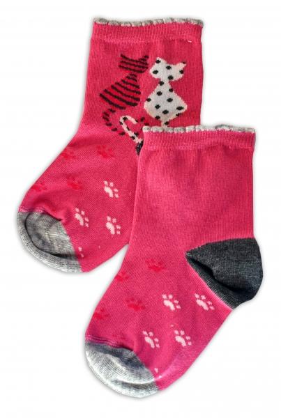 Baby Nellys Bavlnené ponožky Kočičky - růžové, veľ. 17-18cm