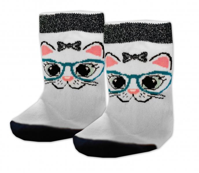 Baby Nellys Bavlnené ponožky Mačka s okuliarmi - biele, veľ. 15-16cm
