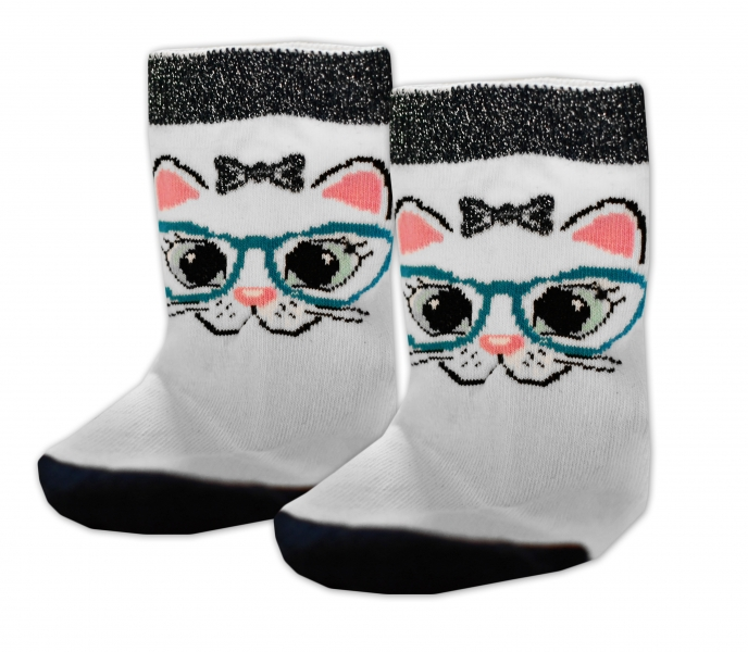 Baby Nellys Bavlnené ponožky Mačka s okuliarmi - biele, veľ. 17-18cm